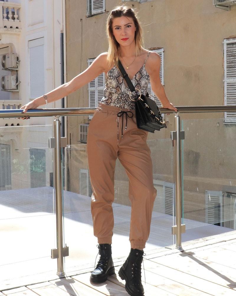 Pantalon en simili cuir - 8611-CAMEL -